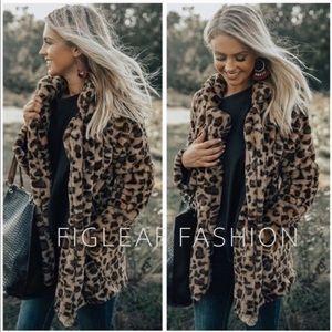 Figleaffashion leopard print plush vegan fur coat